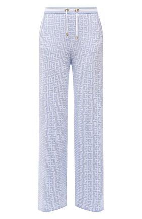 Женские брюки из шерсти и льна BALMAIN голубого цвета, арт. WF10B015/K256   Фото 1