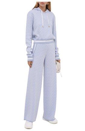 Женские брюки из шерсти и льна BALMAIN голубого цвета, арт. WF10B015/K256   Фото 2