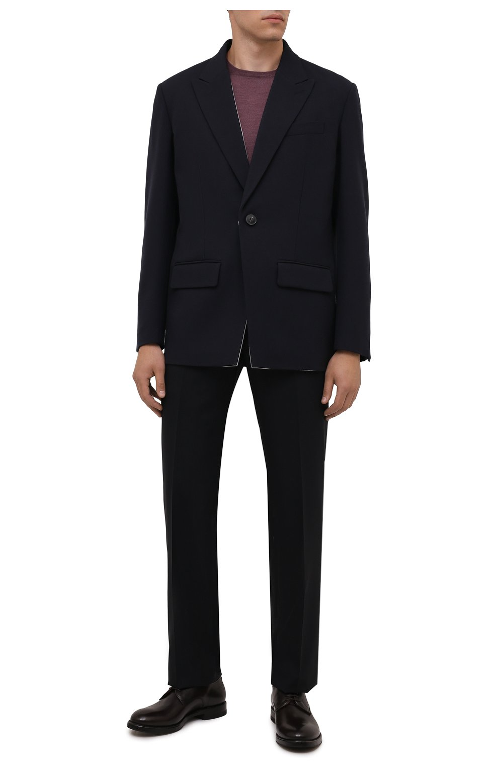 Мужские кожаные дерби W.GIBBS темно-коричневого цвета, арт. 0220001/2302   Фото 2 (Материал внутренний: Натуральная кожа; Стили: Классический)