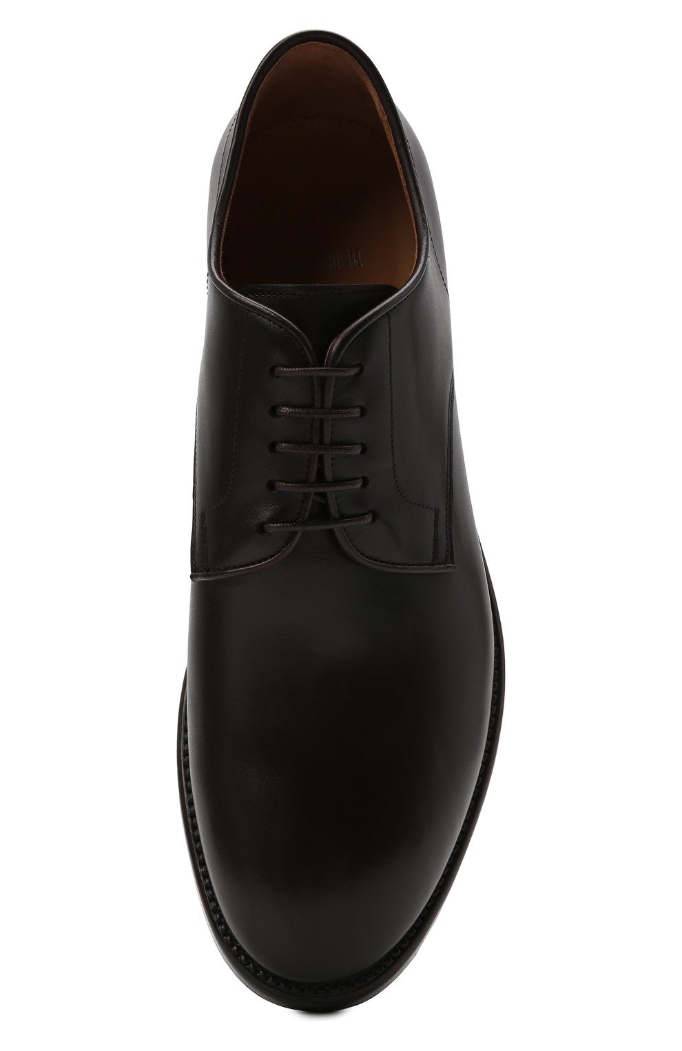 Мужские кожаные дерби W.GIBBS темно-коричневого цвета, арт. 0220001/2302   Фото 5 (Материал внутренний: Натуральная кожа; Стили: Классический)