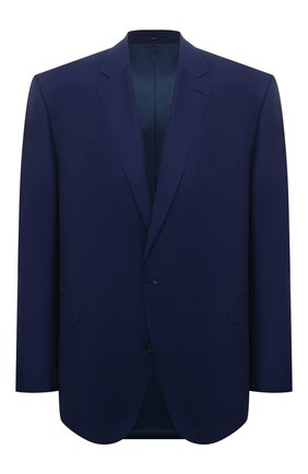 Мужской шерстяной пиджак EDUARD DRESSLER темно-синего цвета, арт. N282/10001_1 | Фото 1 (Материал подклада: Купро; Длина (для топов): Стандартные; Материал внешний: Шерсть; Рукава: Длинные; Случай: Формальный; Пиджаки М: Прямой; Стили: Классический; Big sizes: Big Sizes; 1-2-бортные: Однобортные)