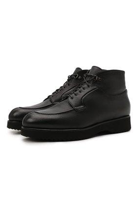 Мужские кожаные ботинки DOUCAL'S черного цвета, арт. DU2889DAK0UM019NN00 | Фото 1 (Материал утеплителя: Натуральный мех; Подошва: Массивная; Мужское Кросс-КТ: Ботинки-обувь, зимние ботинки)