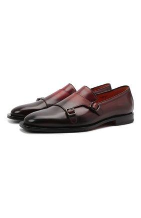 Мужские кожаные лоферы SANTONI бордового цвета, арт. MCCG17795LG4EPTUT67 | Фото 1 (Материал внутренний: Натуральная кожа; Стили: Классический)