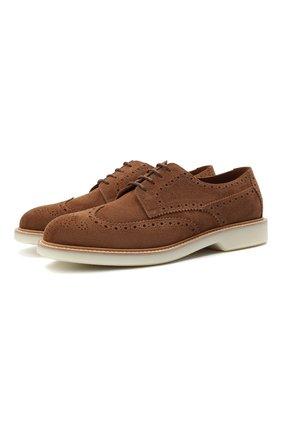 Мужские замшевые дерби BRUNELLO CUCINELLI светло-коричневого цвета, арт. MZU0USP825 | Фото 1 (Материал внутренний: Натуральная кожа; Стили: Классический; Мужское Кросс-КТ: Броги-обувь; Материал внешний: Замша)