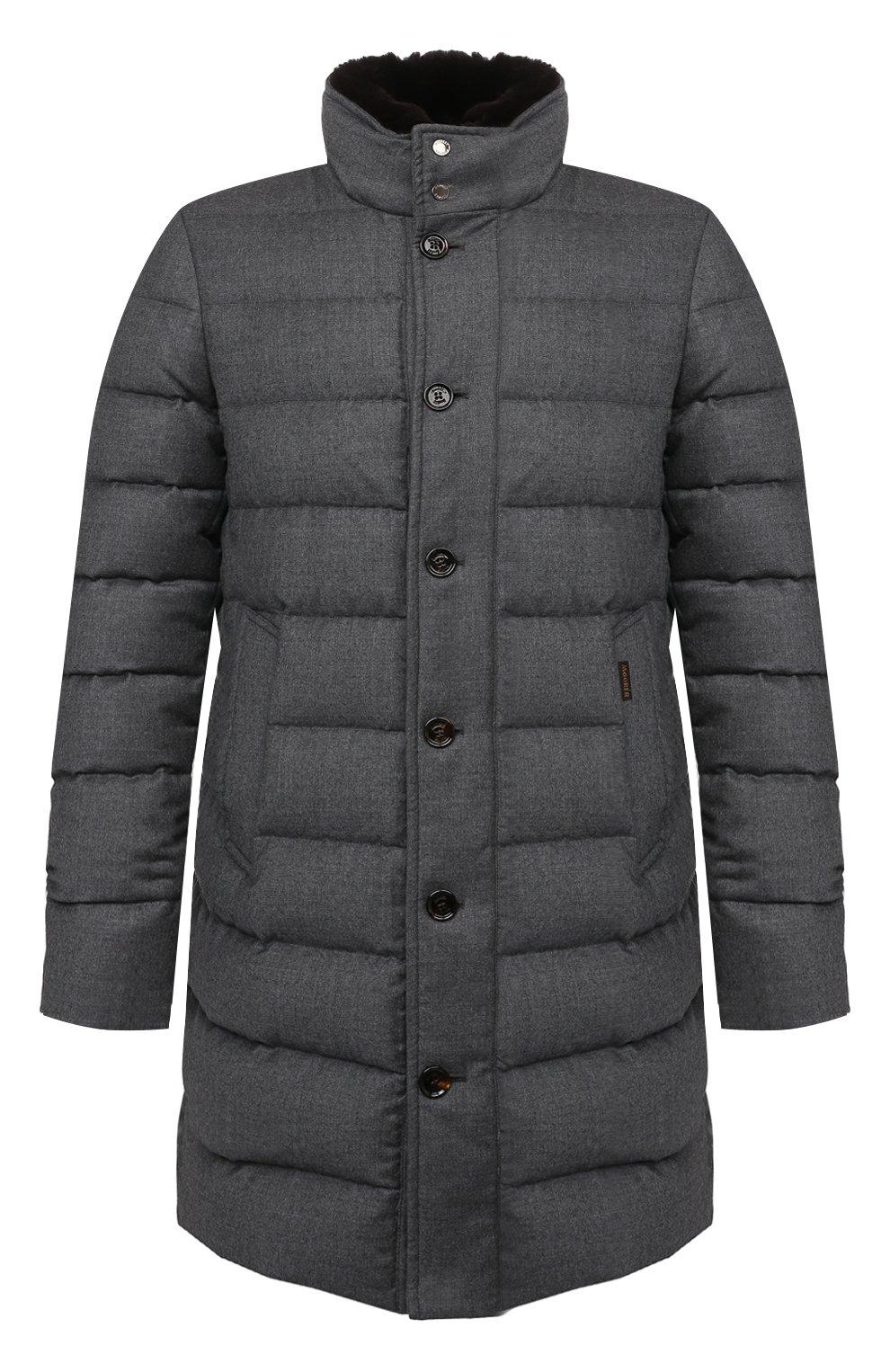 Мужская пуховик из шерсти и кашемира alfieri-fur-l MOORER серого цвета, арт. ALFIERI-FUR-L/M0UGI100104-TEPA217 | Фото 1 (Кросс-КТ: Куртка; Мужское Кросс-КТ: пуховик-короткий; Материал внешний: Шерсть; Рукава: Длинные; Длина (верхняя одежда): До середины бедра; Материал утеплителя: Пух и перо; Стили: Кэжуэл)