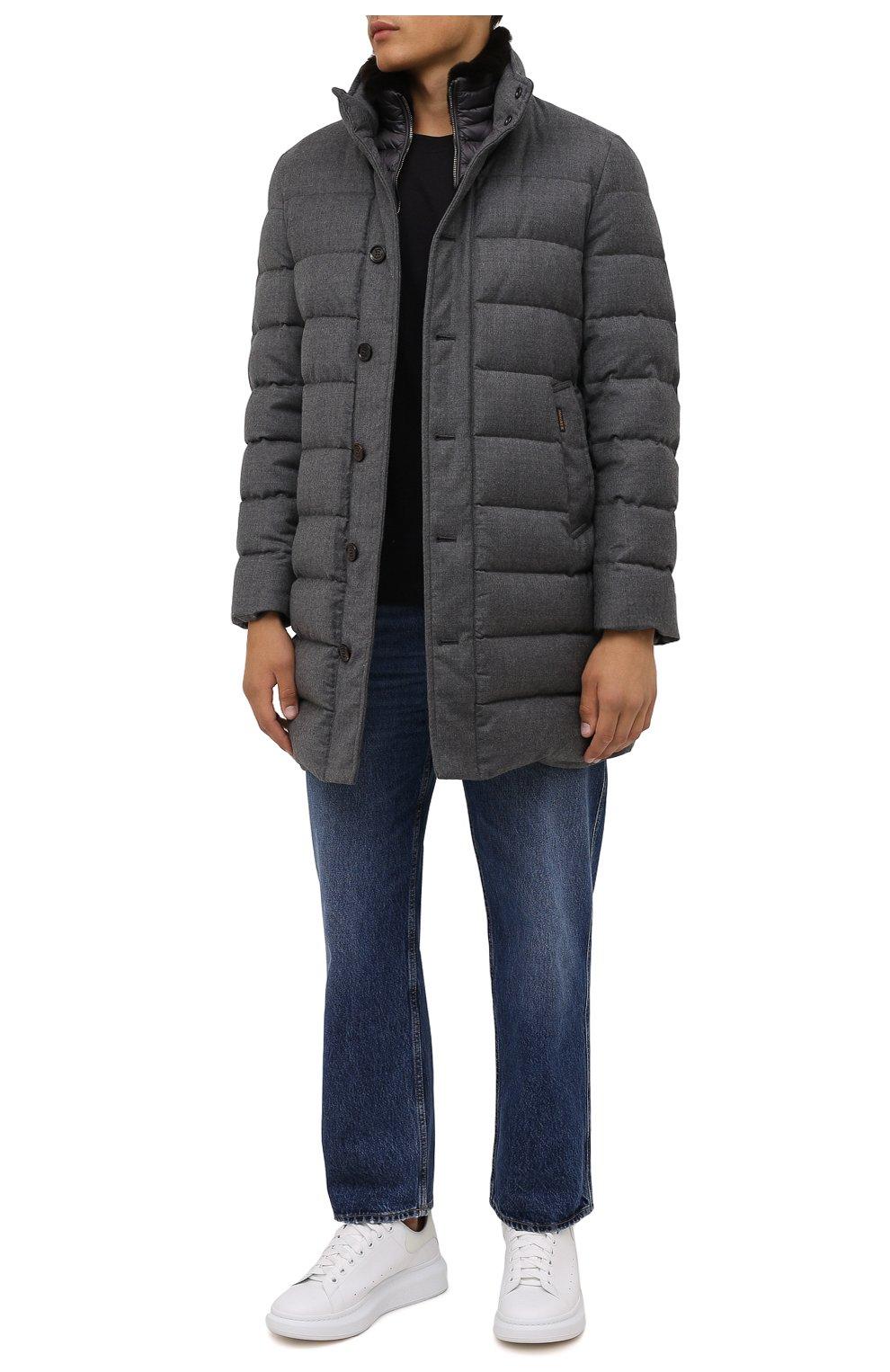 Мужская пуховик из шерсти и кашемира alfieri-fur-l MOORER серого цвета, арт. ALFIERI-FUR-L/M0UGI100104-TEPA217 | Фото 2 (Кросс-КТ: Куртка; Мужское Кросс-КТ: пуховик-короткий; Материал внешний: Шерсть; Рукава: Длинные; Длина (верхняя одежда): До середины бедра; Материал утеплителя: Пух и перо; Стили: Кэжуэл)