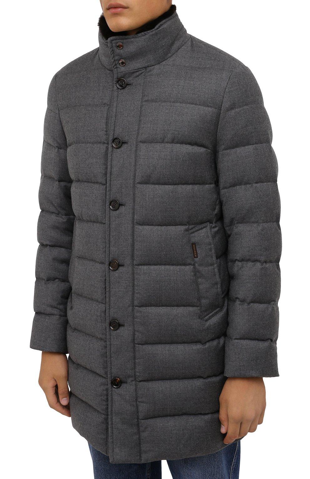 Мужская пуховик из шерсти и кашемира alfieri-fur-l MOORER серого цвета, арт. ALFIERI-FUR-L/M0UGI100104-TEPA217 | Фото 3 (Кросс-КТ: Куртка; Мужское Кросс-КТ: пуховик-короткий; Материал внешний: Шерсть; Рукава: Длинные; Длина (верхняя одежда): До середины бедра; Материал утеплителя: Пух и перо; Стили: Кэжуэл)