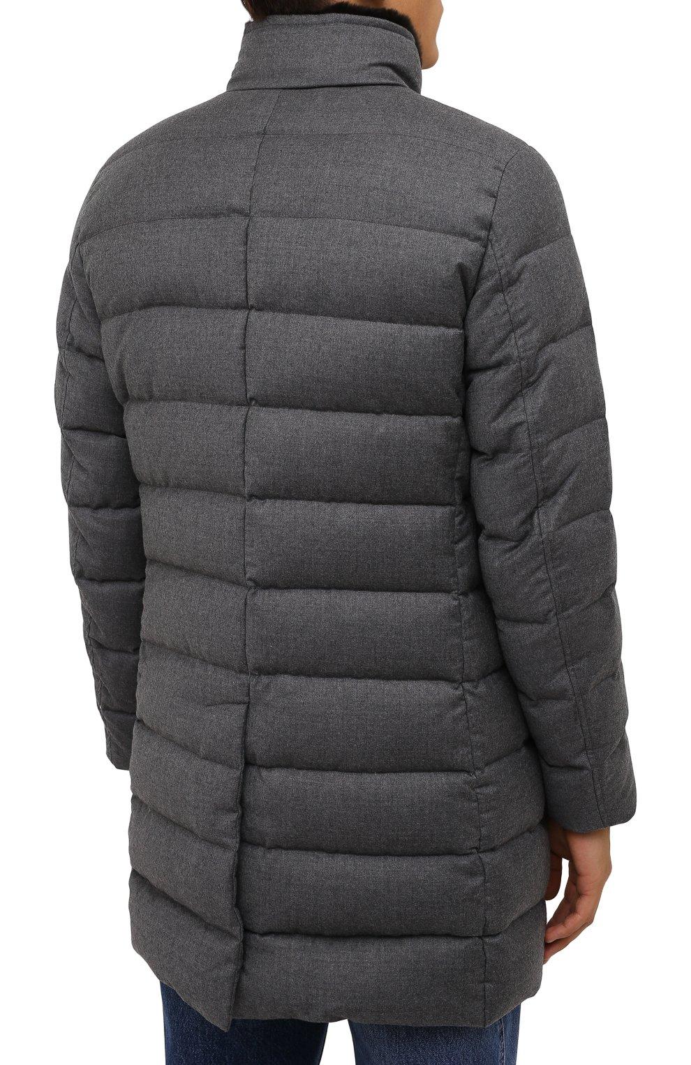 Мужская пуховик из шерсти и кашемира alfieri-fur-l MOORER серого цвета, арт. ALFIERI-FUR-L/M0UGI100104-TEPA217 | Фото 4 (Кросс-КТ: Куртка; Мужское Кросс-КТ: пуховик-короткий; Материал внешний: Шерсть; Рукава: Длинные; Длина (верхняя одежда): До середины бедра; Материал утеплителя: Пух и перо; Стили: Кэжуэл)