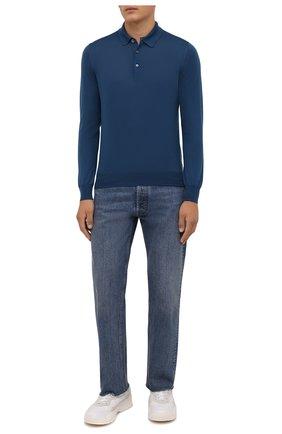 Мужское шерстяное поло GRAN SASSO синего цвета, арт. 45132/14790 | Фото 2 (Материал внешний: Шерсть; Рукава: Длинные; Длина (для топов): Стандартные; Застежка: Пуговицы; Стили: Кэжуэл)