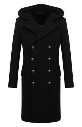 Мужской пальто из шерсти и кашемира BALMAIN черного цвета, арт. WH1UB001/T158 | Фото 1 (Материал подклада: Синтетический материал; Рукава: Длинные; Материал внешний: Шерсть; Длина (верхняя одежда): До колена; Стили: Кэжуэл; Мужское Кросс-КТ: пальто-верхняя одежда)