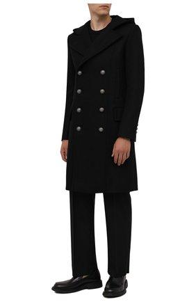 Мужской пальто из шерсти и кашемира BALMAIN черного цвета, арт. WH1UB001/T158 | Фото 2 (Материал подклада: Синтетический материал; Рукава: Длинные; Материал внешний: Шерсть; Длина (верхняя одежда): До колена; Стили: Кэжуэл; Мужское Кросс-КТ: пальто-верхняя одежда)