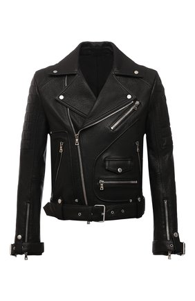 Мужская кожаная куртка BALMAIN черного цвета, арт. WH1TD100/L124 | Фото 1