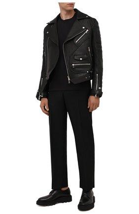 Мужская кожаная куртка BALMAIN черного цвета, арт. WH1TD100/L124 | Фото 2