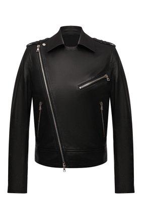 Мужская кожаная куртка BALMAIN черного цвета, арт. WH1TD055/L115 | Фото 1