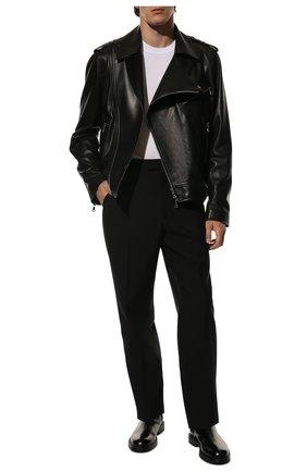 Мужская кожаная куртка BALMAIN черного цвета, арт. WH1TD055/L115 | Фото 2