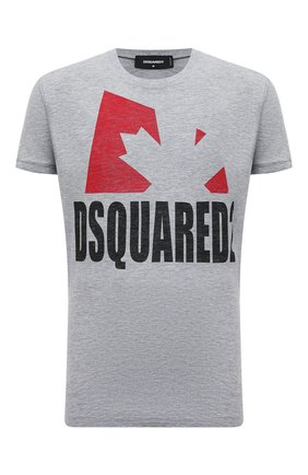 Мужская футболка из хлопка и вискозы DSQUARED2 серого цвета, арт. S74GD0863/S22146 | Фото 1 (Длина (для топов): Стандартные; Рукава: Короткие; Материал внешний: Хлопок; Принт: С принтом; Стили: Гранж)