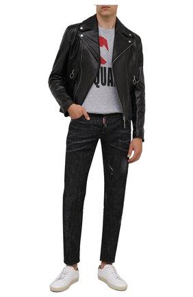 Мужская футболка из хлопка и вискозы DSQUARED2 серого цвета, арт. S74GD0863/S22146 | Фото 2 (Длина (для топов): Стандартные; Рукава: Короткие; Материал внешний: Хлопок; Принт: С принтом; Стили: Гранж)