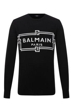 Мужской шерстяной джемпер BALMAIN черного цвета, арт. WH1KD000/K037 | Фото 1