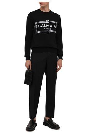Мужской шерстяной джемпер BALMAIN черного цвета, арт. WH1KD000/K037 | Фото 2