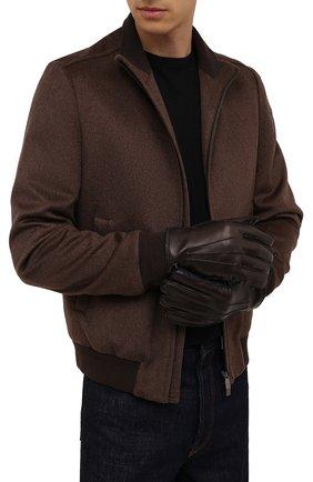 Мужские кожаные перчатки CORNELIANI темно-коричневого цвета, арт. 88Q318-1820590/00 | Фото 2