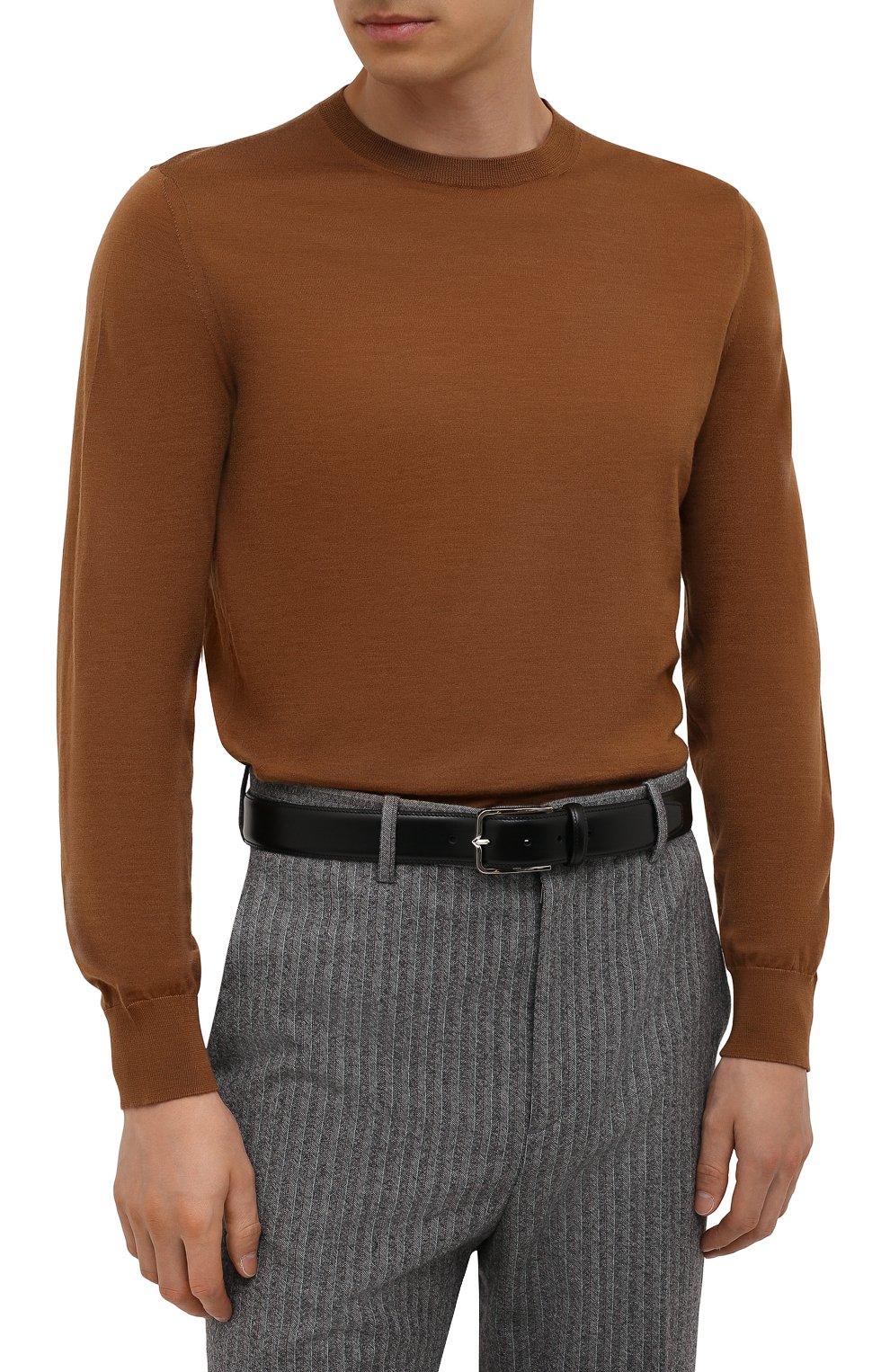 Мужской кожаный ремень CORNELIANI черного цвета, арт. 88V301-1820830/00   Фото 2 (Случай: Формальный)