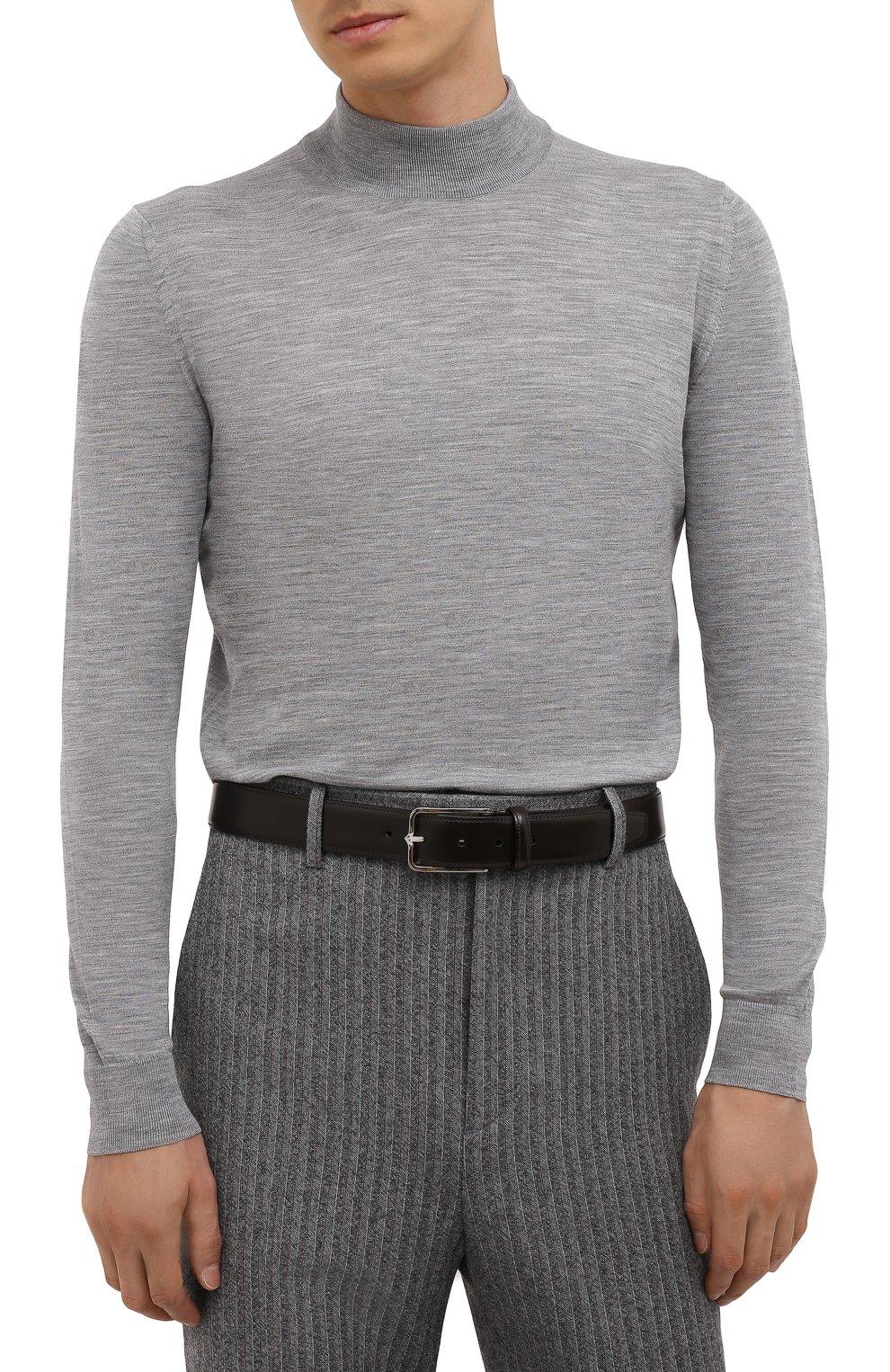 Мужской кожаный ремень CORNELIANI темно-коричневого цвета, арт. 88V301-1820830/00   Фото 2 (Случай: Формальный)