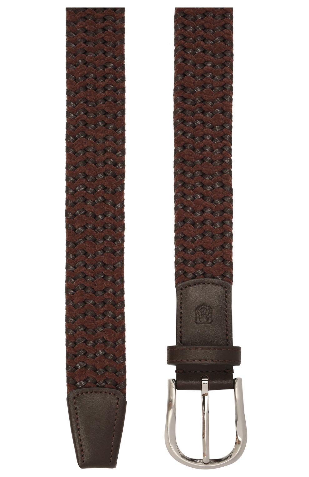 Мужской комбинированный ремень CORNELIANI коричневого цвета, арт. 88V358-1820834/00 | Фото 3 (Материал: Текстиль; Случай: Повседневный)