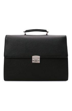 Мужской кожаный портфель KITON черного цвета, арт. UBWALLN00126   Фото 1