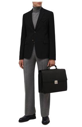Мужской кожаный портфель KITON черного цвета, арт. UBWALLN00126   Фото 2