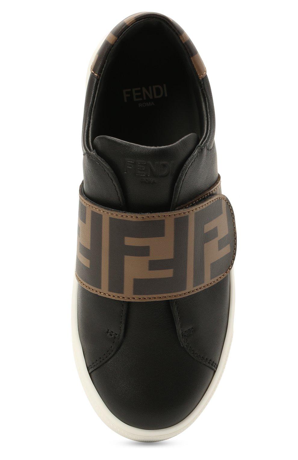 Детские кожаные кеды FENDI черного цвета, арт. JMR325/A7N4/24-31   Фото 4 (Материал внутренний: Натуральная кожа)