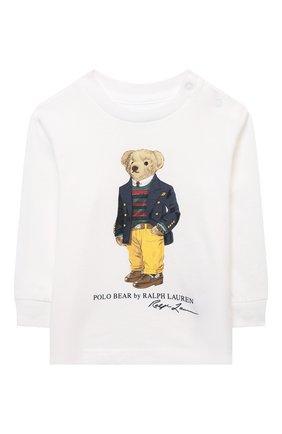 Детский хлопковый лонгслив POLO RALPH LAUREN белого цвета, арт. 320852014 | Фото 1 (Рукава: Длинные; Материал внешний: Хлопок; Ростовка одежда: 9 мес | 74 см, 12 мес | 80 см, 3 мес | 62 см, 6 мес | 68 см)