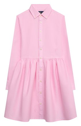 Детское хлопковое платье-рубашка RALPH LAUREN розового цвета, арт. 313756657 | Фото 1