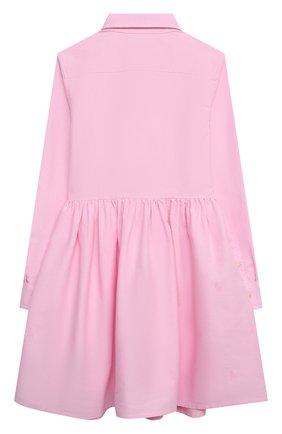 Детское хлопковое платье-рубашка RALPH LAUREN розового цвета, арт. 313756657 | Фото 2