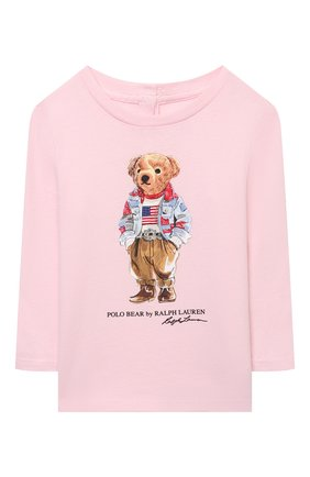 Детский хлопковый лонгслив POLO RALPH LAUREN розового цвета, арт. 310854212 | Фото 1 (Материал внешний: Хлопок; Рукава: Длинные; Ростовка одежда: 9 мес | 74 см, 12 мес | 80 см, 6 мес | 68 см)