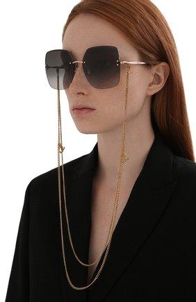 Женские солнцезащитные очки и цепочка JIMMY CHOO черного цвета, арт. TAVI/N 000 | Фото 2