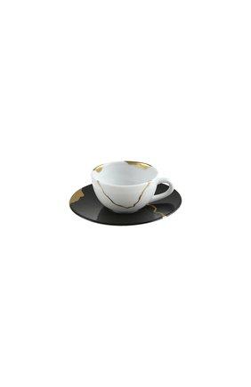 Кофейная чашка с блюдцем kintsugi charbon BERNARDAUD черного цвета, арт. 1976/21509 | Фото 1 (Ограничения доставки: fragile-2)