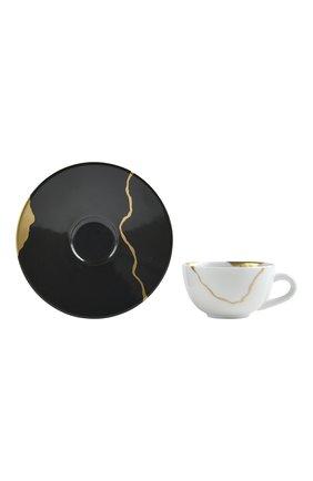 Кофейная чашка с блюдцем kintsugi charbon BERNARDAUD черного цвета, арт. 1976/21509 | Фото 2 (Ограничения доставки: fragile-2)