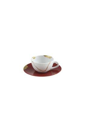 Кофейная чашка с блюдцем kintsugi rouge empereur BERNARDAUD красного цвета, арт. 1977/21509 | Фото 1 (Ограничения доставки: fragile-2)