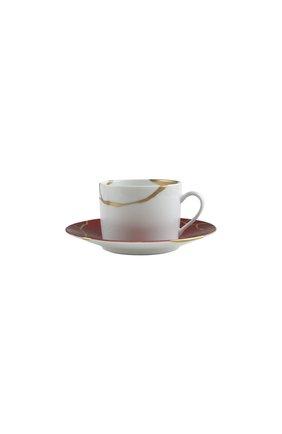 Чайная чашка с блюдцем kintsugi rouge empereur BERNARDAUD красного цвета, арт. 1977/91 | Фото 1 (Ограничения доставки: fragile-2)