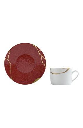 Чайная чашка с блюдцем kintsugi rouge empereur BERNARDAUD красного цвета, арт. 1977/91 | Фото 2 (Ограничения доставки: fragile-2)