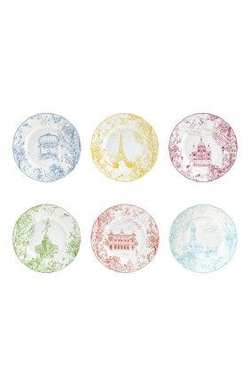 Набор из шести салатных тарелок tout paris BERNARDAUD разноцветного цвета, арт. 1980/2993 | Фото 1 (Ограничения доставки: fragile-2)