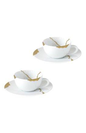 Набор kintsugi из двух кофейных чашек с блюдцами BERNARDAUD белого цвета, арт. 1095/21957 | Фото 1 (Ограничения доставки: fragile-2)