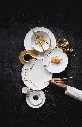 Набор kintsugi из четырех кофейных чашек с блюдцами BERNARDAUD белого цвета, арт. 1095/22664 | Фото 2 (Ограничения доставки: fragile-2)