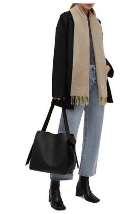 Женский шарф из шерсти и кашемира LOEWE бежевого цвета, арт. F810250X01 | Фото 2