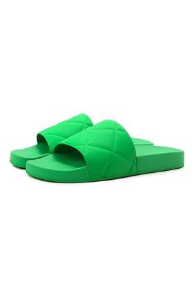 Мужские резиновые шлепанцы BOTTEGA VENETA зеленого цвета, арт. 640050/V00P0 | Фото 1 (Материал внешний: Резина)