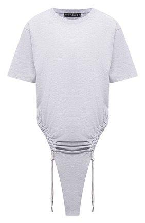 Женское хлопковое боди Y/PROJECT серого цвета, арт. WB0DY15-S20 J21 | Фото 1