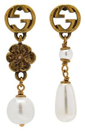 Женские серьги GUCCI золотого цвета, арт. 661127/I4620 | Фото 1 (Материал: Металл)
