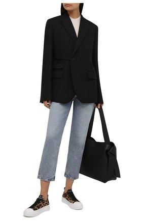 Женские текстильные кеды portofino DOLCE & GABBANA леопардового цвета, арт. CK1886/A0743 | Фото 2 (Материал внешний: Текстиль; Материал внутренний: Натуральная кожа; Подошва: Платформа)