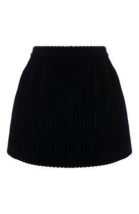 Женская хлопковая юбка REDVALENTINO темно-синего цвета, арт. WR3RAC25/5YD   Фото 1 (Длина Ж (юбки, платья, шорты): Мини; Материал подклада: Синтетический материал; Материал внешний: Хлопок; Стили: Гламурный; Женское Кросс-КТ: Юбка-одежда, юбка-плиссе)