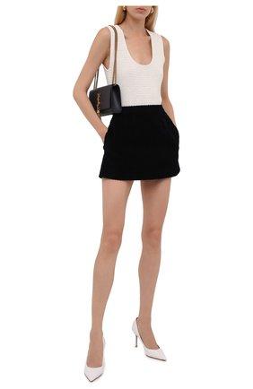 Женская хлопковая юбка REDVALENTINO темно-синего цвета, арт. WR3RAC25/5YD   Фото 2 (Длина Ж (юбки, платья, шорты): Мини; Материал подклада: Синтетический материал; Материал внешний: Хлопок; Стили: Гламурный; Женское Кросс-КТ: Юбка-одежда, юбка-плиссе)